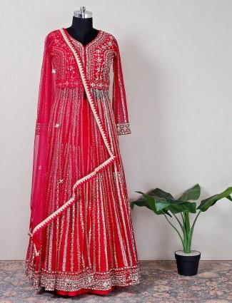 Beautiful magenta georgette lehenga style suit for wedding