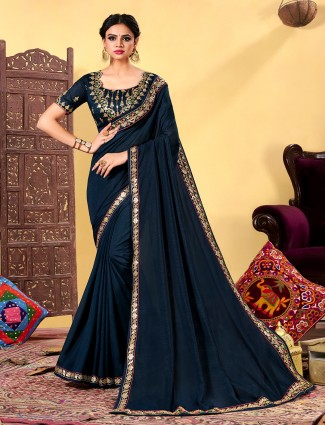 Beautiful navy blue dola silk party wear saree