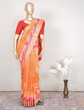 Beautiful orange otton festive wear saree