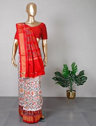 Beautiful patola silk white wedding wear saree