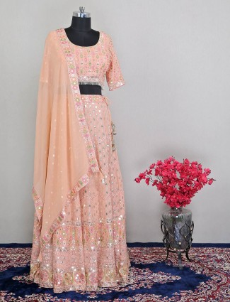 Beautiful peach georgette wedding wear lehenga choli