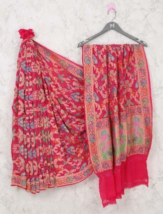 Beautiful pink bandhani saree for bride