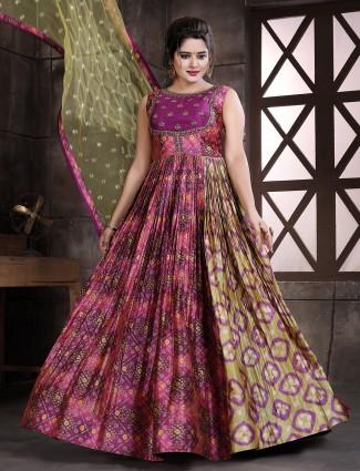 Beautiful pink bandhej silk wedding wear floor length anarkali suit