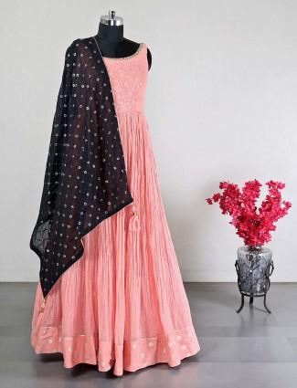 Beautiful pink georgette wedding wear anarkali suit