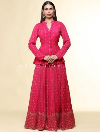Beautiful pink lehenga style suit for women