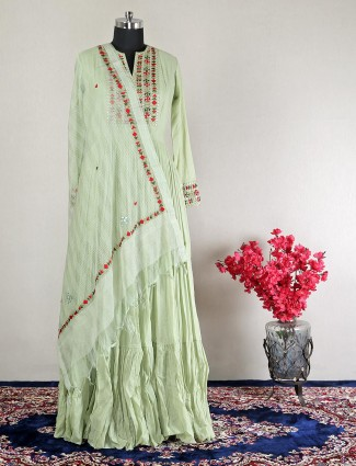 Beautiful pista green party wear cotton gown