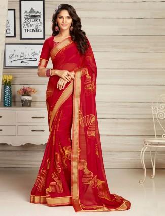 Beautiful printed red georgette saree