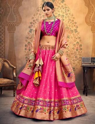 Beautiful purple pink banarasi silk semi stitched lehenga choli