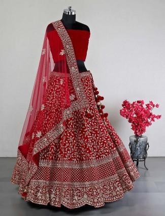 Beautiful red silk lehenga choli for wedding