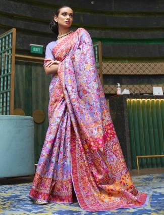 Beautiful violet color pashmina silk printed saree