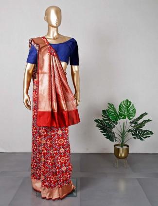 Beautiful wedding wear red patola silk saree