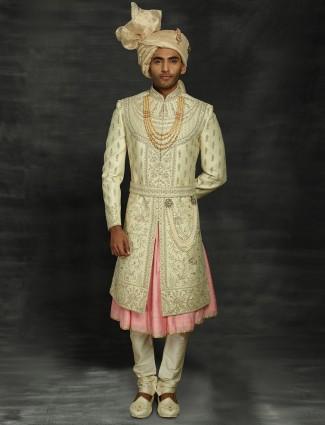Beautifully beige and pink sherwani in silk