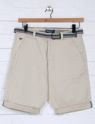 Beevee beige casual solid short