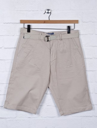 Beevee beige mens solid casual shorts