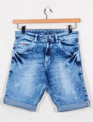Beevee blue cotton slim fit shorts