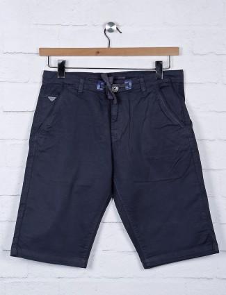 Beevee navy hue cotton slim fit shorts