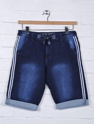 Beevee navy hue denim solid shorts