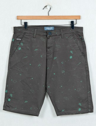 Beevee olive printed cotton summer shorts