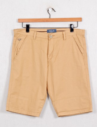 Beevee presented khaki solid cotton shorts