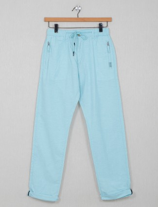 Beevee solid blue hued cotton track pant