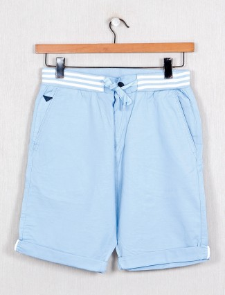 Beevee solid comfortable sky blue shorts