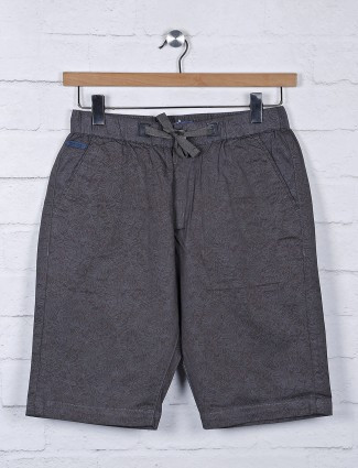 Beevee solid grey cotton fabric shorts