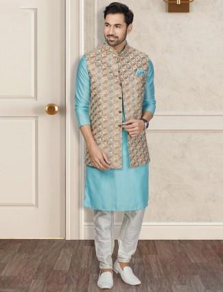 Beige and aqua silk mens waistcoat set for wedding
