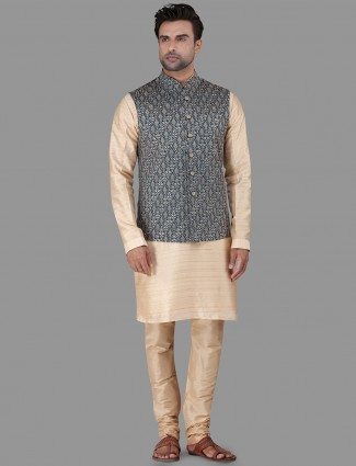 Beige and green thread woven raw silk waistcoat set