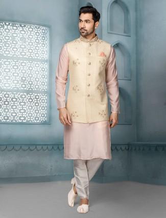 Beige and pink thread woven raw silk waistcoat set