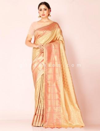 Beige art kanjivaram silk saree with unstitched blouse piece