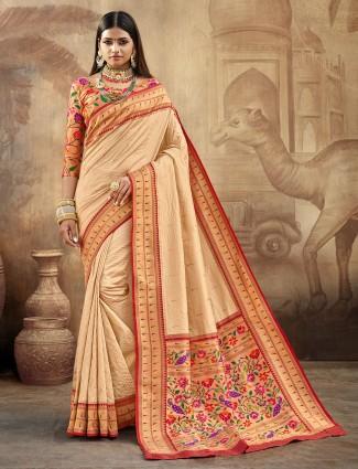 Beige banarasi paithani silk wedding wear saree
