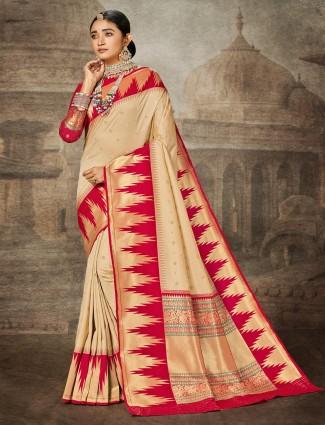 Beige banarasi silk wedding zari weaved saree