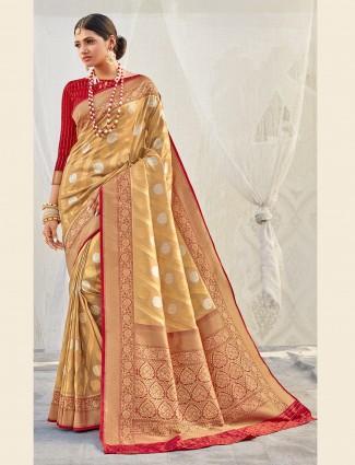 Beige banarasi tissue silk wedding wear saree