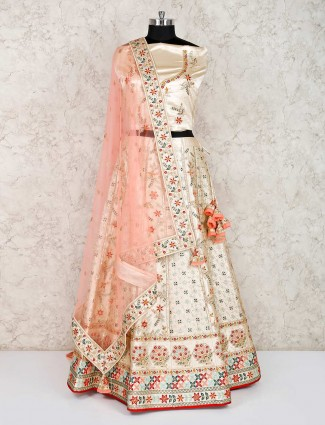 Beige bridal wear raw silk semi stitched lehenga choli