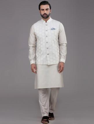 Beige chanderi cotton waistcoat set
