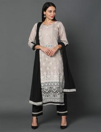 Beige chanderi silk festive wear pant style salwar suit