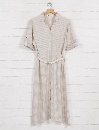 Beige collar neck cotton long top with stripe