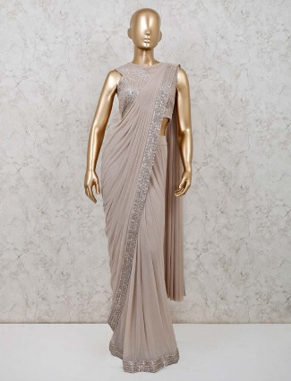 Beige colour ready to wear party wear saree