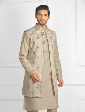 Beige colour waistcoat set with aabla work details