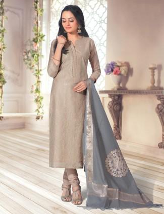 Beige cotton churidar suit for festive events