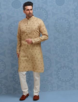 Beige cotton farbic printed kurta suit