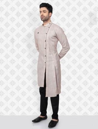 Beige cotton festive function kurta suit