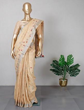 Beige cotton festive saree for women
