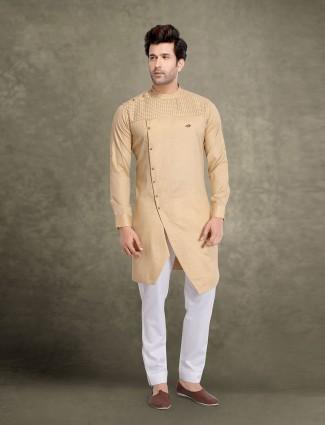 Beige cotton festive solid kurta suit