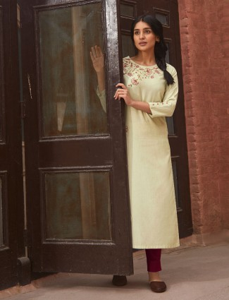 Beige cotton kurti for casual look