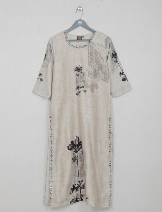 Beige cotton kurti for womens casual day outing