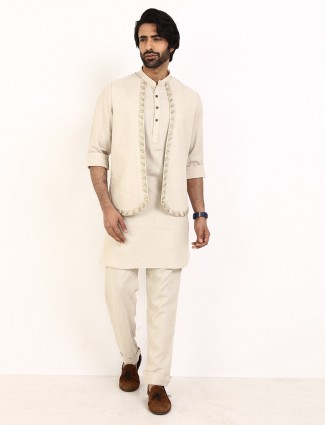 Beige cotton linen waistcoat set for mens