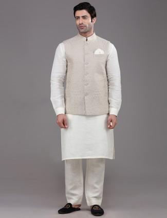 Beige cotton party function linen waistcoat set