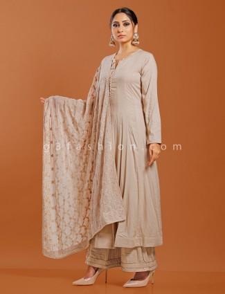 Beige cotton silk festive wear punjabi palazzo suit