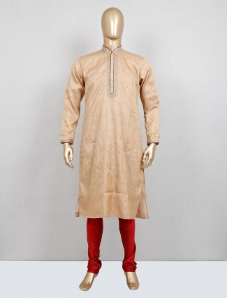 Beige cotton silk festive occasion kurta suit
